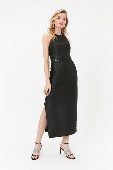 Black Embellished Waistband Maxi