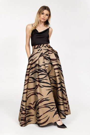 Womens Multi Tiger Jacquard Maxi Skirt
