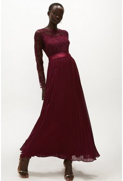 Aubergine Embroidered Long Sleeve Maxi Dress