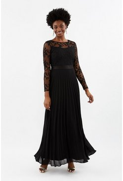 Black Embroidered Long Sleeve Maxi Dress