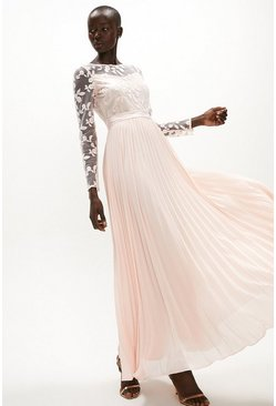 Blush Embroidered Long Sleeve Maxi Dress