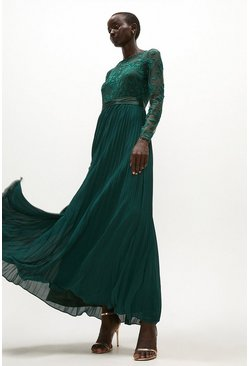 Forest Embroidered Long Sleeve Maxi Dress