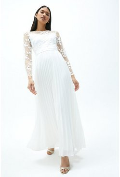 Ivory Embroidered Long Sleeve Maxi Dress