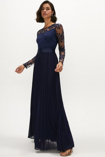 Navy Embroidered Long Sleeve Maxi Dress