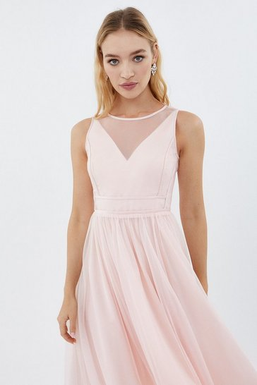 Blush Sleeveless Organza Tulle Midi Dress