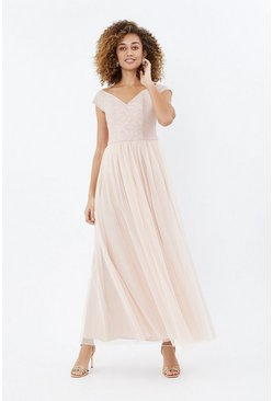 Blush Embroidered Full Midi Dress