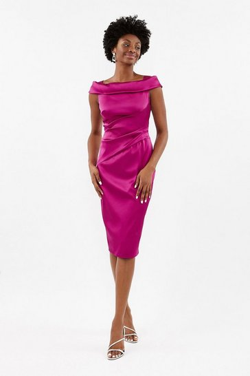 Pink Satin Bardot Shift Dress
