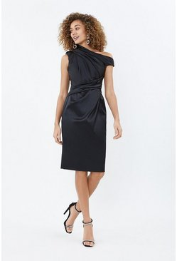 Black Asymmetric Neckline Satin Shift Dress