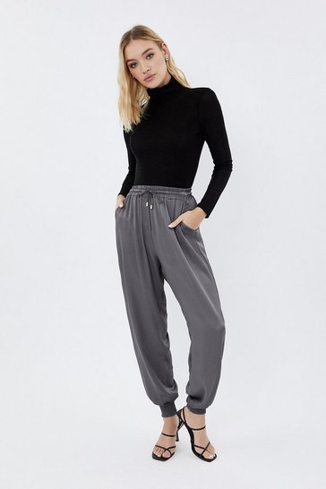 Grey Drawstring waist satin jogger