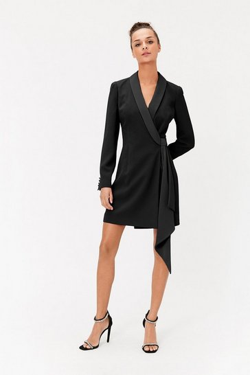 Womens Black Tuxedo Wrap Dress