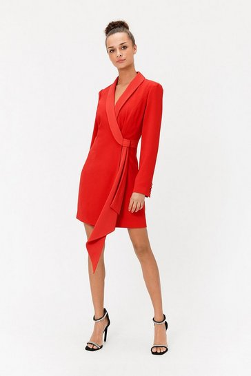 Red Tuxedo Wrap Dress