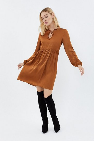 Caramel Tie Neck Long Sleeve Tunic Dress