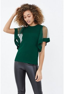 Forest Angel Sleeve Knit Top
