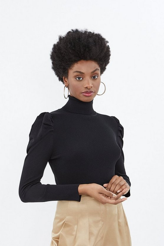 Black Rib Body Polo Knit Top