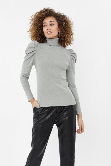 Grey marl Long Sleeve Rib Body Polo Knit Top
