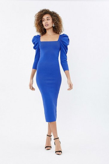 Cobalt Square Neck Knit Midi Dress