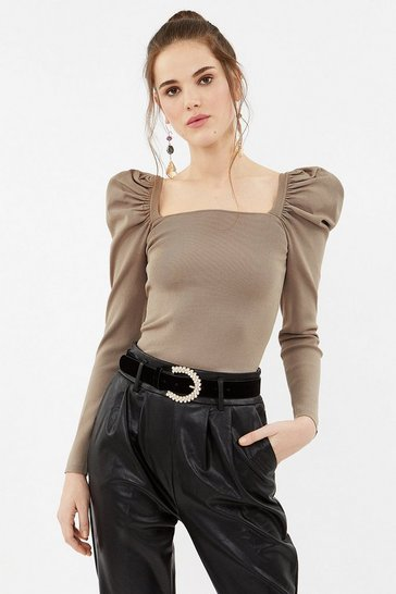 Caramel Square Neck Knit Top