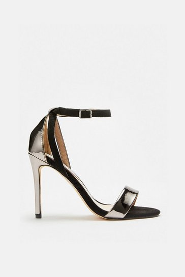 Pewter Barely There Metallic Mix Sandal