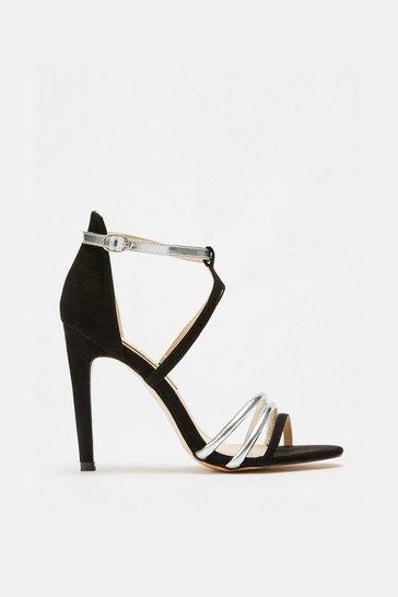 Womens Black Material Mix Strappy Sandal