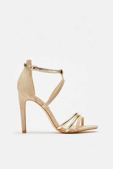 Nude Material Mix Strappy Sandals