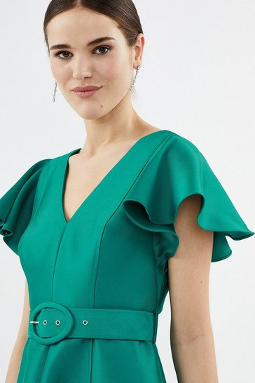 Green Curve Belted Full Midi Dress