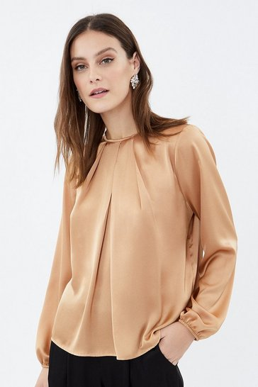Natural Long Sleeve Satin Tuck Neck Top