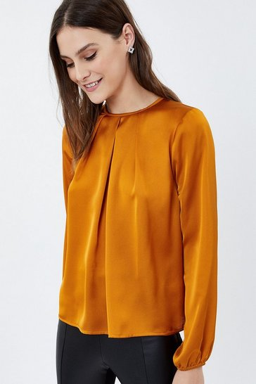 Yellow Long Sleeve Satin Tuck Neck Top