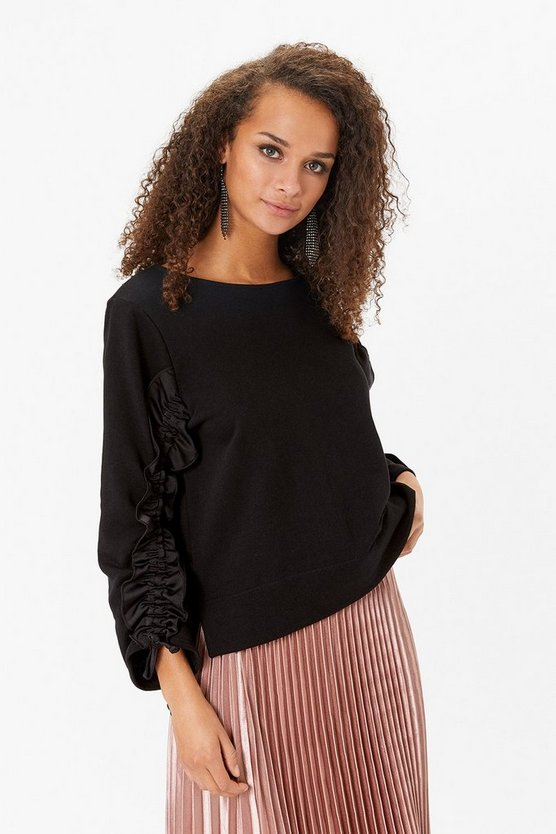Black Long Ruffle Sleeve Sweatshirt