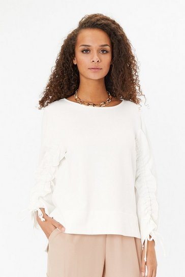 Ivory Long Ruffle Sleeve Sweatshirt
