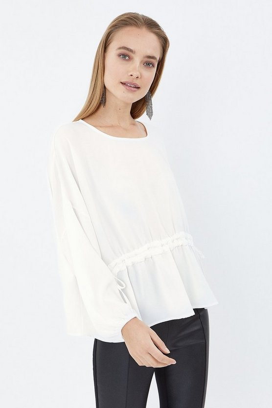 Ivory Long Sleeve Drawstring Waist Top