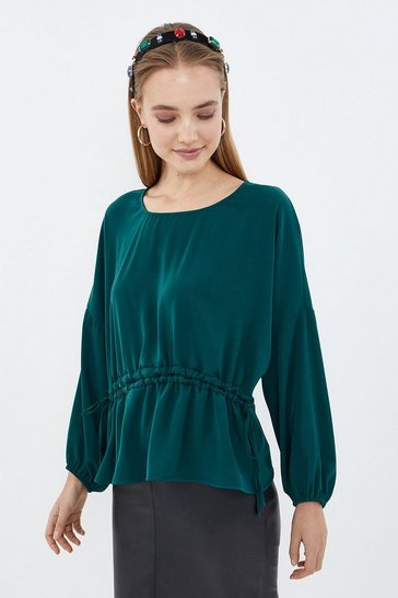 Teal Long Sleeve Drawstring Waist Top