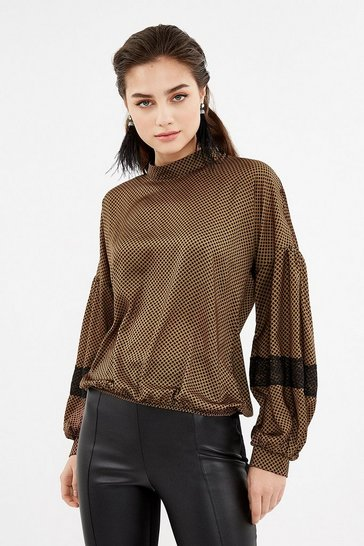 Caramel Long Bell Sleeve Polkadot Lace Top