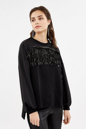 Black Long Sleeve Fringe Detail Sweatshirt