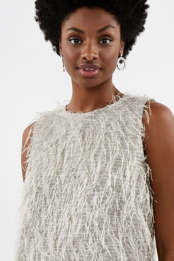 Silver Sleeveless Fringed Shell Top