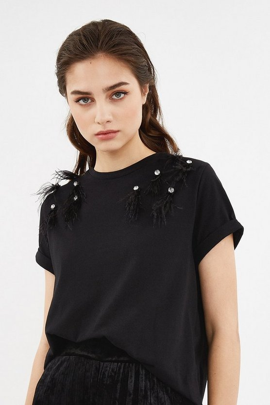 Black Short Sleeve Crystal Feather T-Shirt