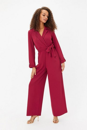 Berry Long Sleeve Tux Collar Jumpsuit