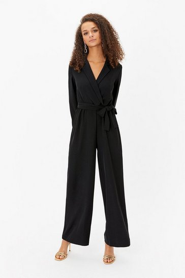 Black Tux Collar Jumpsuit