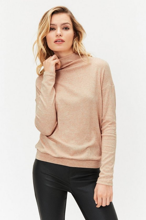 Blush Long Sleeve Funnel Neck Knit Top