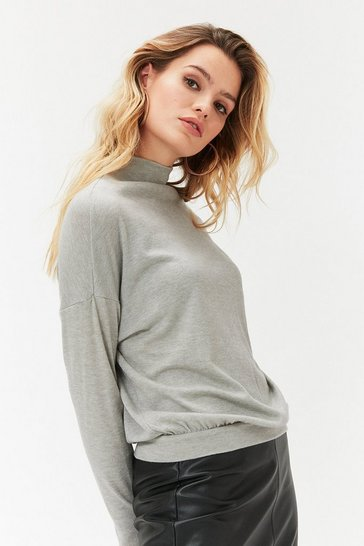 Grey Long Sleeve Funnel Neck Knit Top