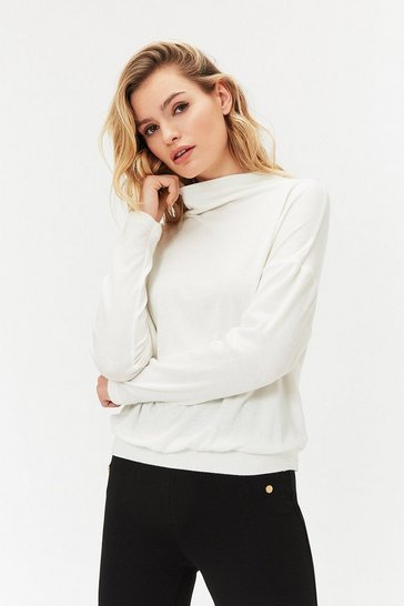 Ivory Long Sleeve Funnel Neck Knit Top