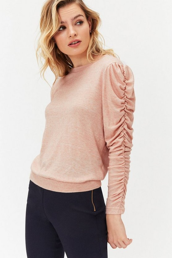 Womens Blush Ruched Long Sleeve Knit Top