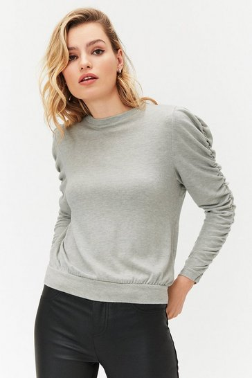 Grey Ruched Long Sleeve Knit Top