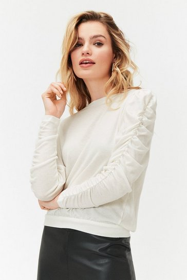 Ivory Ruched Long Sleeve Knit Top