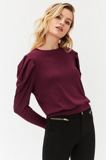 Merlot Tucked shoulder long sleeve knit top