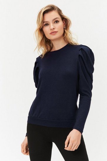 Navy Tucked shoulder long sleeve knit top