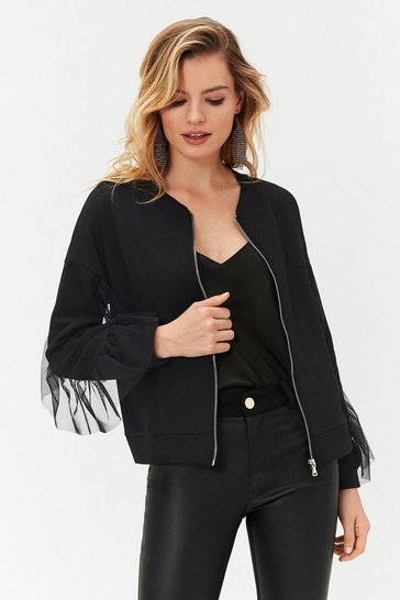 Black Frill Sleeve Bomber Jacket