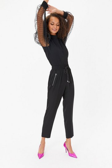 Black Drawstring waist zip detail jogger