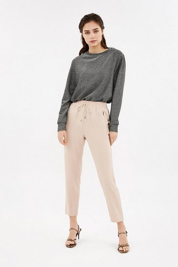 Blush Drawstring Waist Zip Detail Jogger