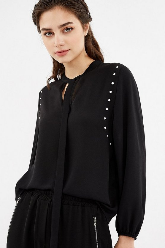 Black Long Sleeve Crepe Stud Detail Tie Blouse