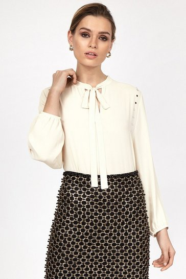 Natural Long Sleeve Crepe Stud Detail Tie Blouse